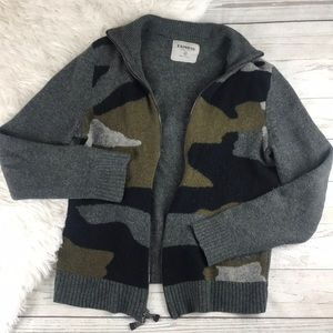 Express Camo Print Lambswool Sweater Jacket M
